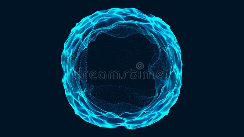 Tunnel or wormhole. Abstract sphere, consisting of points. Space-time portal. 3d rendering stock illustration