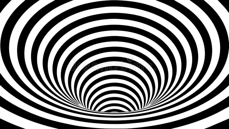 Tunnel or wormhole. Movement lines illusion. Abstract wave whith black and white curve lines. Vector optical illusion vector illustration