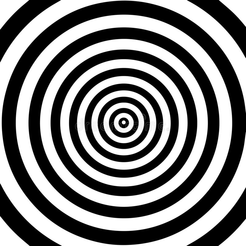 Tunnel or wormhole. Movement lines illusion. Abstract wave whith black and white curve lines. Vector optical illusion stock illustration