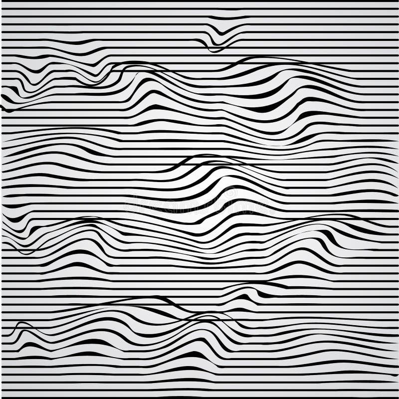 Tunnel Zwart-witte abstracte gestreepte achtergrond Optisch art Illustratie royalty-vrije illustratie