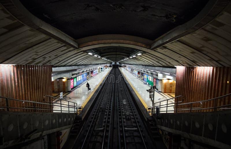 Tunnelbana av den gamla staden av Lissabon Oriente station royaltyfria bilder