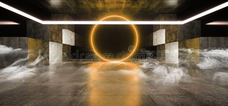 Tunnelbana för korridor för tunnel för laser för stråle för ljus för rökdimmaSci Fi futuristisk faktisk grafisk neon vibrerande o vektor illustrationer
