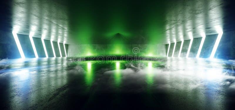 Tunnelbana för korridor för vibrerande tunnel för laser för stråle för ljus för rökdimmaSci Fi futuristisk faktisk grafisk neon b royaltyfri illustrationer