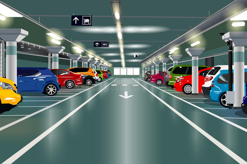 tunnelbana för parkering för färgcontrasteffekt royaltyfri illustrationer