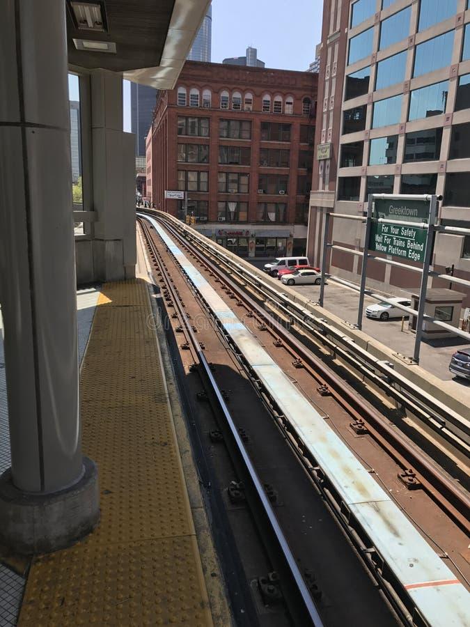 Tunnelbanastadsspår arkivfoton