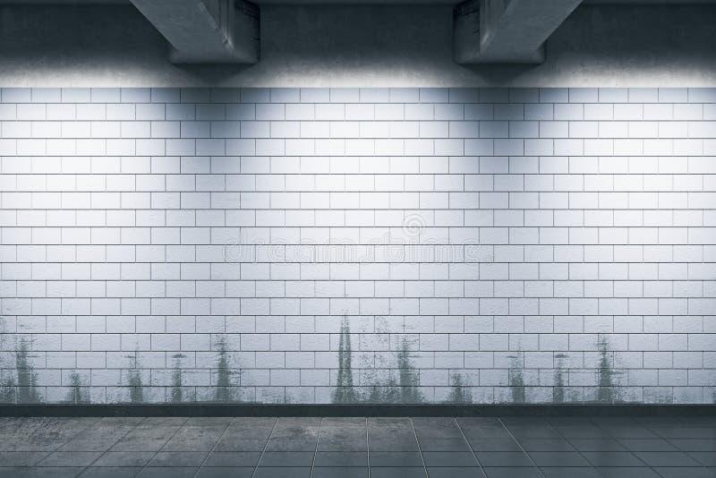 Tunnelbanastation med den tomma väggen royaltyfri illustrationer