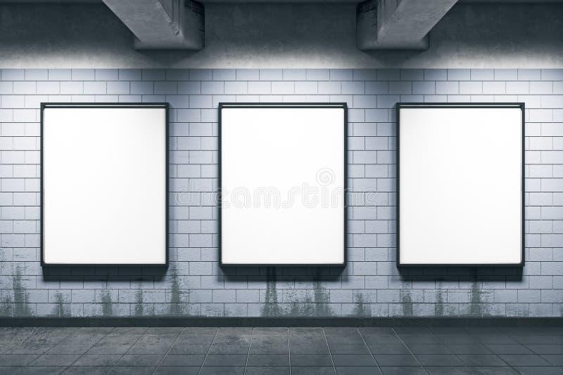 Tunnelbanastation med tomma affischer stock illustrationer