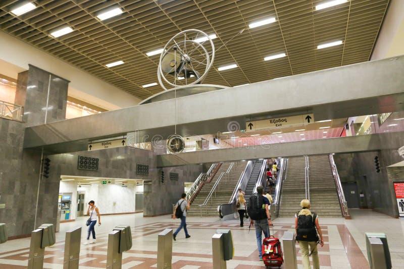 Tunnelbanastation på Aten, Grekland arkivfoto