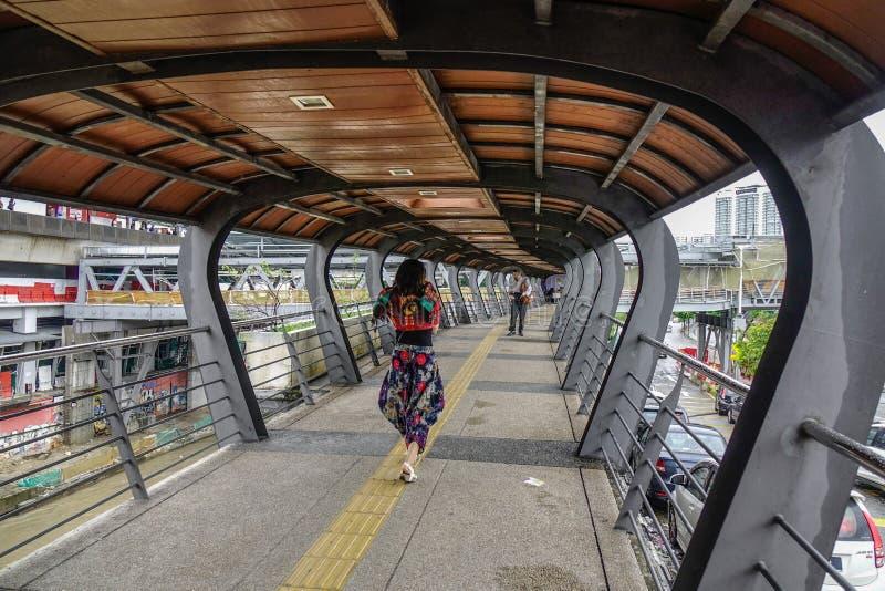 Tunnelbro för gångare royaltyfria bilder