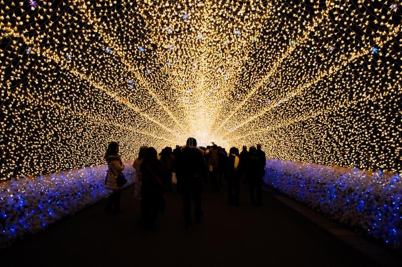 Tunnelen av ljus i Nabana ingen Sato trädgård på natten i vinter, arkivbild