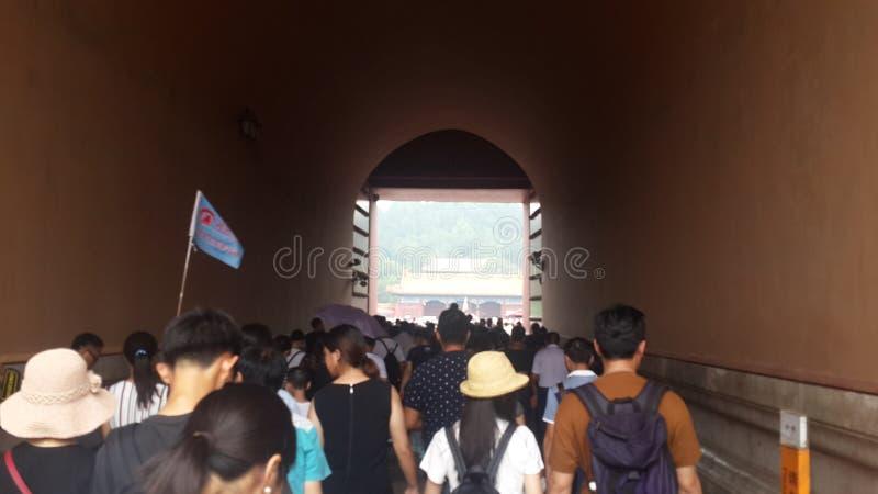 Tunnelflöde av Forbiddenet City, Peking, Kina arkivbilder