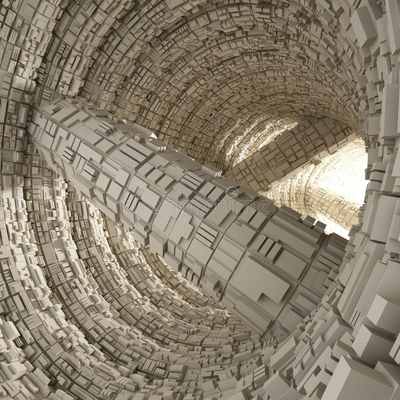 Tunnelhöhle modernes 3d übertragen stockfoto