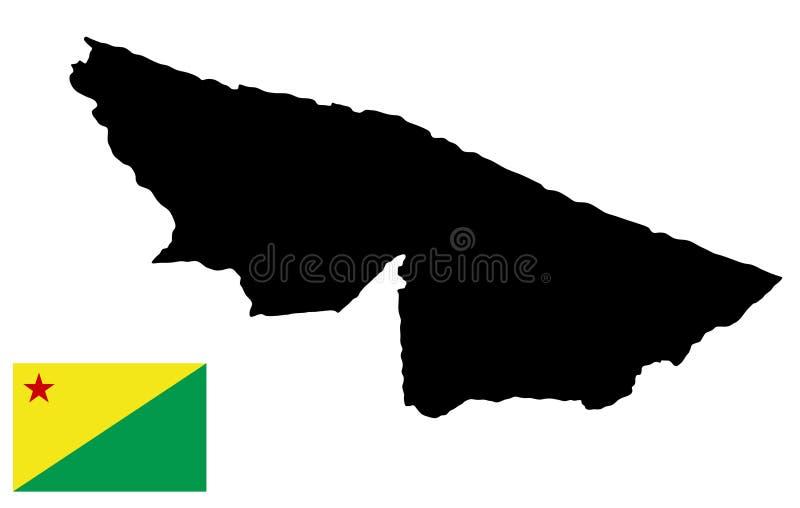 Tunnland, Brasilien, översikt och flagga av tunnlandet vektor illustrationer