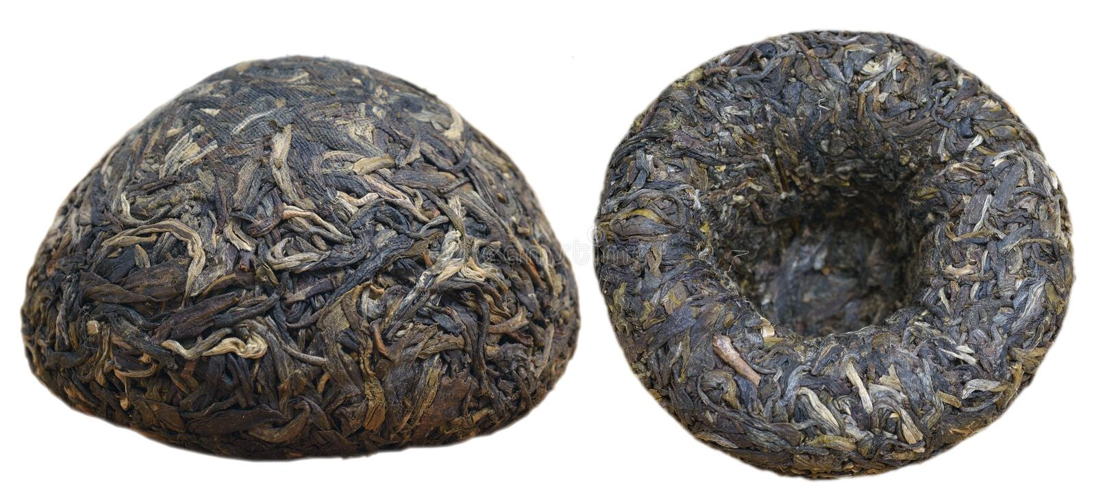Tuocha tea. Two perspectives of Tuocha tea isolated on white. It is a form of production of Puer in Yunnan province of China stock photography