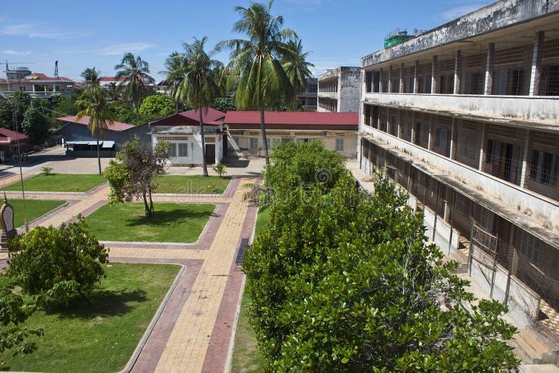 Tuol Sleng庭院  库存照片