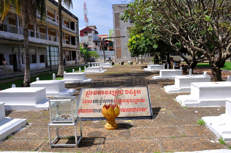 Tuol Sleng种族灭绝博物馆,金边,柬埔寨 免版税库存照片