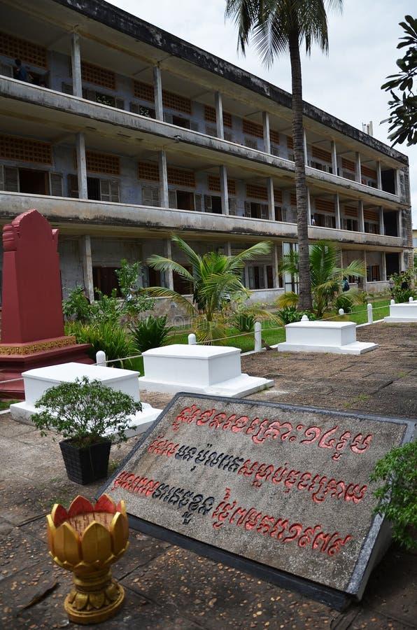 Tuol Sleng种族灭绝博物馆在金边,柬埔寨 库存照片