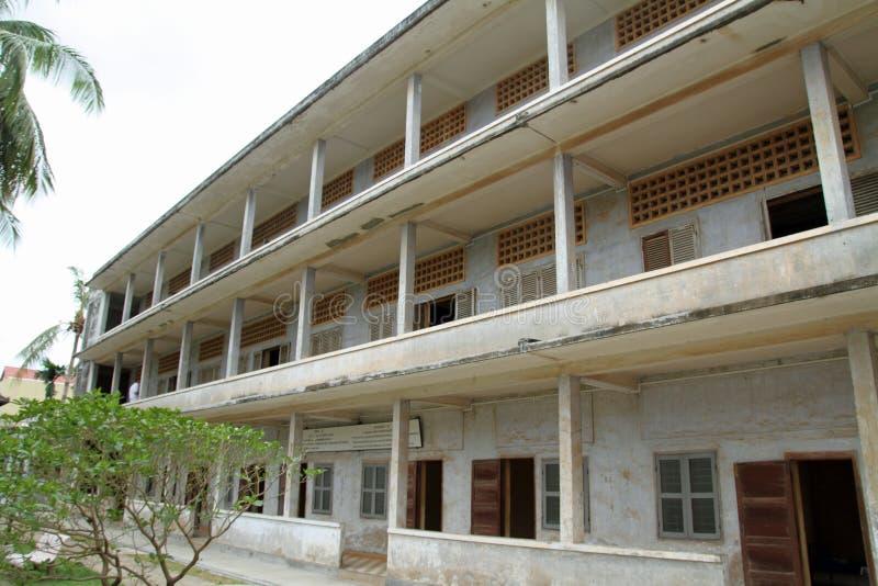 Tuol Sleng种族灭绝博物馆在金边 免版税库存图片