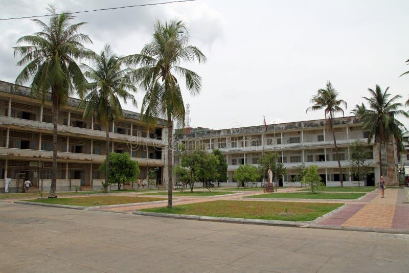 Tuol Sleng种族灭绝博物馆在金边 免版税库存照片