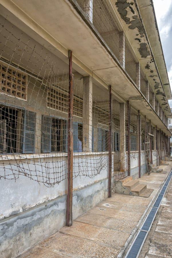 Tuol Sleng种族灭绝博物馆监狱在金边,柬埔寨 免版税库存照片