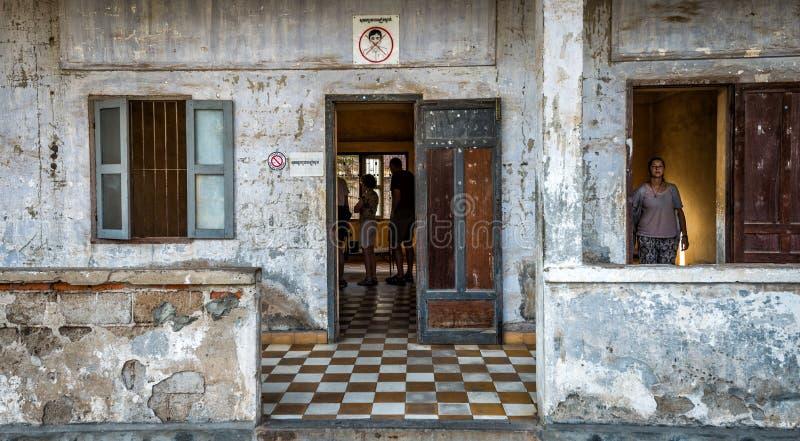 Tuol Sleng/21种族灭绝博物馆,金边,柬埔寨 免版税库存图片
