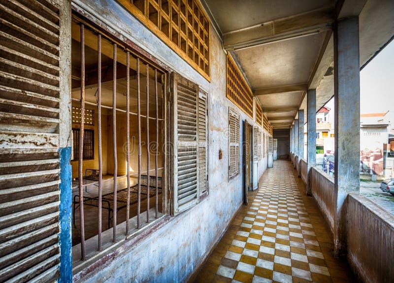 Tuol Sleng/21种族灭绝博物馆,金边,柬埔寨 库存照片