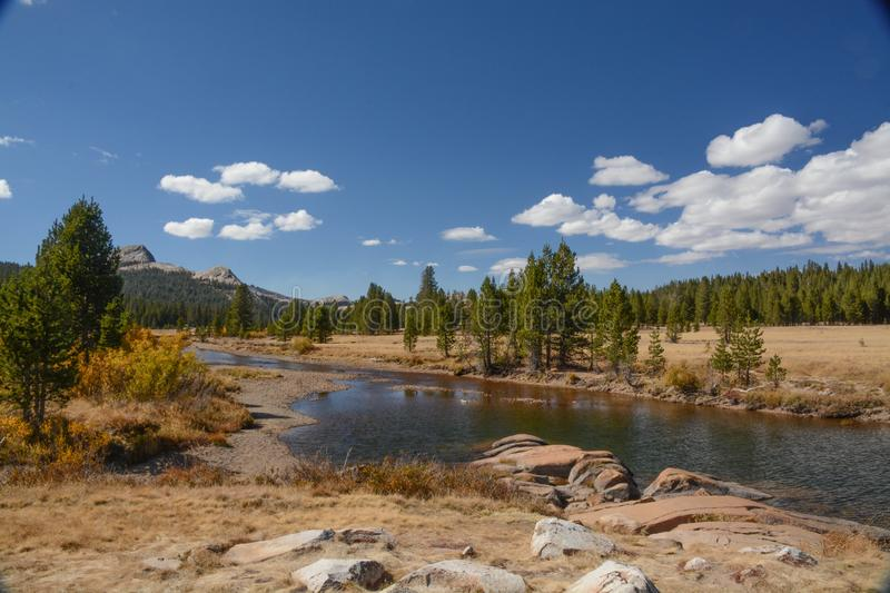 Tuolumne Meadows in Yosemite National Park. A view of Tuolumne Meadows in Yosemite National Park near the stream stock images