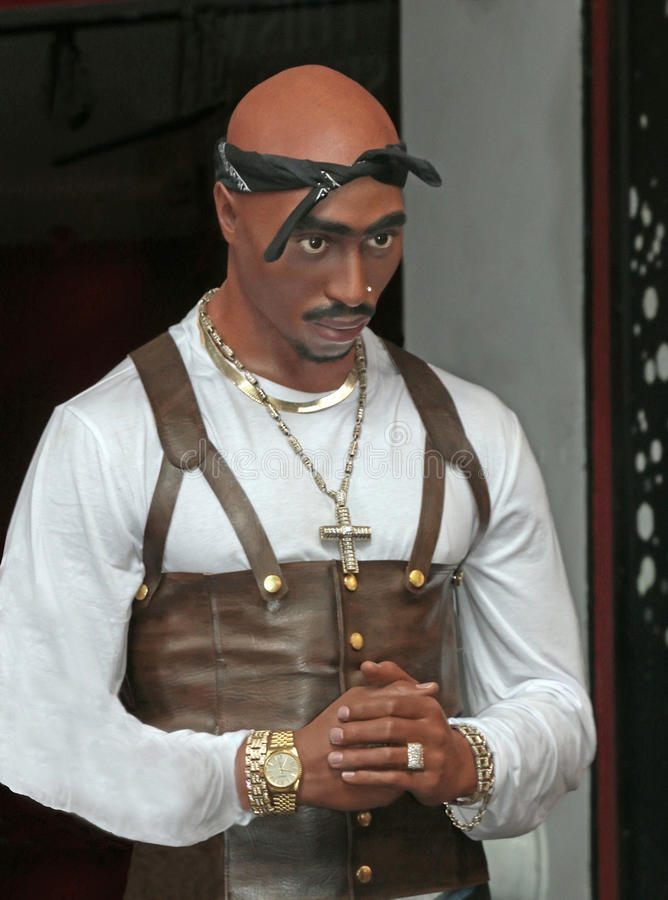 Tupac Shakur. Rapper Tupac Shakur in wax at Madame Tussauds at 42nd street in NYC stock images
