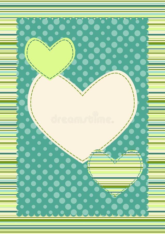 Tupfen-Streifen-und Inner-Valentinsgruß-Karte stock abbildung
