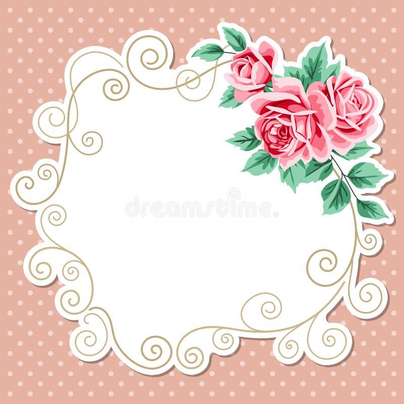 Tupfenhintergrund mit Rosen stock abbildung