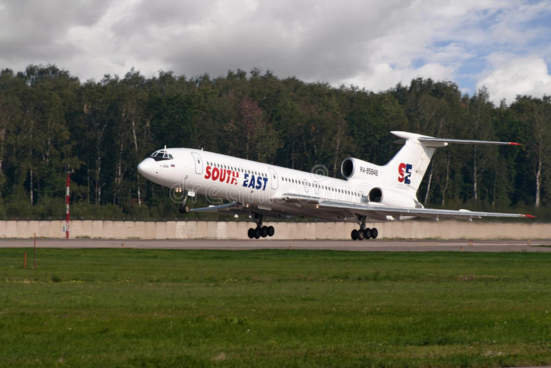 tupolev tu двигателя 154 воздушных судн стоковое фото rf
