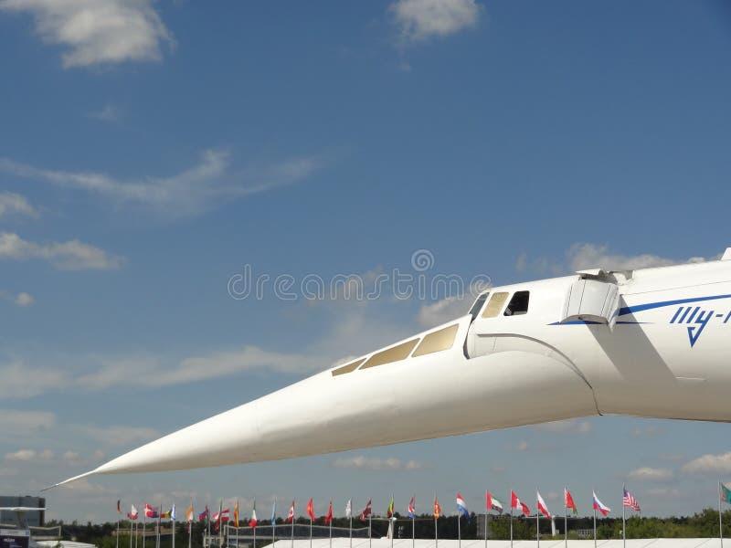 Tupolev Turkije-144, supersonisch vliegtuig van Rusland stock fotografie