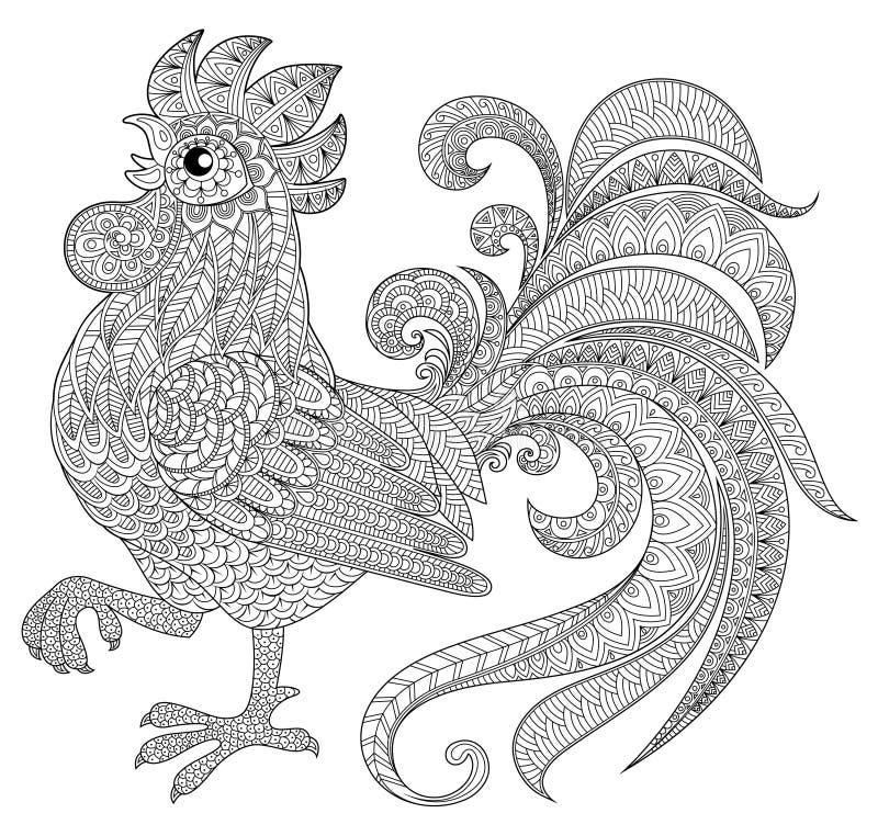 Tupp i zentanglestil Symbol av det kinesiska nya året 2017 vektor illustrationer