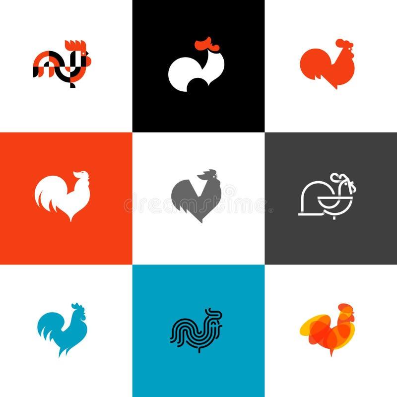 Tupp och hane Plan uppsättning för illustrationer för designstilvektor av royaltyfri illustrationer