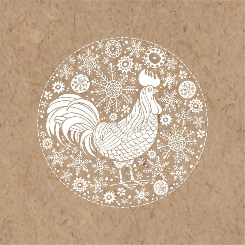 Tupp och snöflingor Djurt symbol för tupp av det nya året 2017 Vektorillustration i cirkeln på kraft papper, isolerad eleme royaltyfri illustrationer