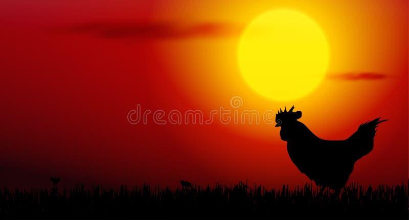 tupp på solnedgång vektor illustrationer