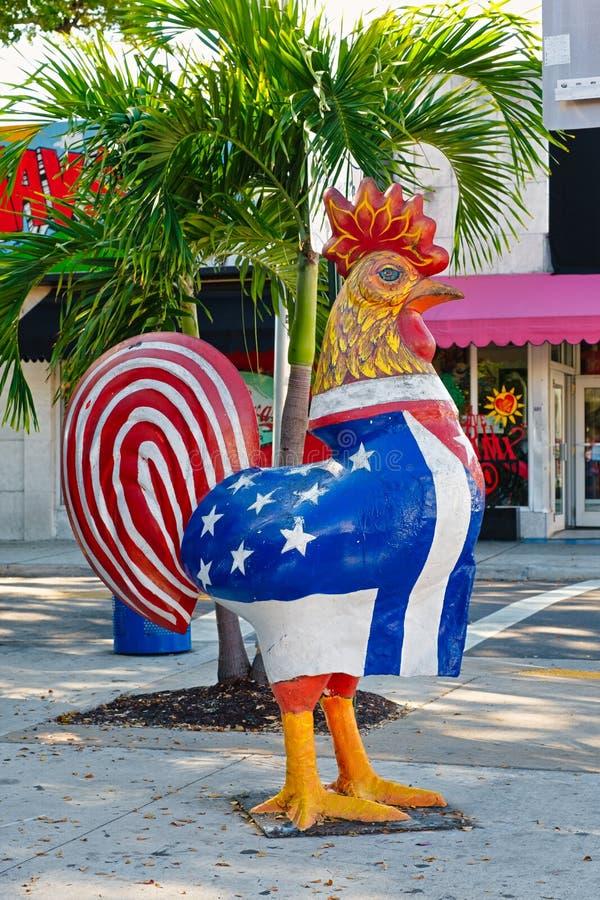 Tupp som visar kubanen och amerikanska flaggorna på den lilla havannacigarren i Miami royaltyfri foto