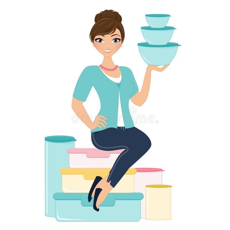 Tupperware kvinna vektor illustrationer