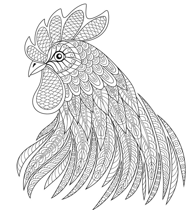 Tupphuvud i zentanglestil Symbol av det kinesiska nya året 2017 vuxen anti-spänningsfärgläggningsida stock illustrationer