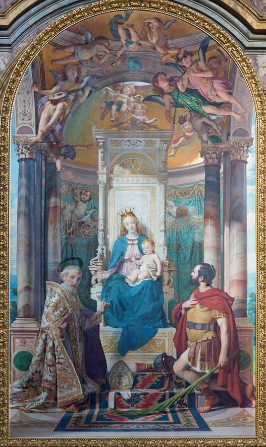 TURÍN, ITALIA - 16 DE MARZO DE 2017: La pintura de Madonna con los santos en la iglesia Chiesa di San Filippo Neri foto de archivo