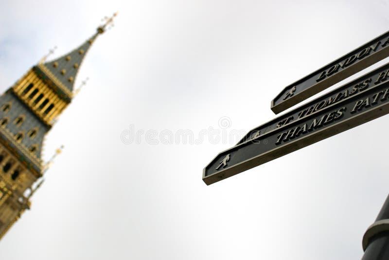 Turístico assina dentro Londres foto de stock