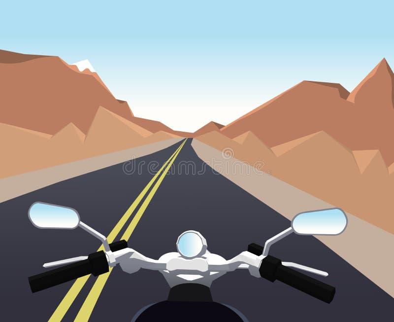 Tur på en motorcykel Berglandskaphorisontalbakgrund för illustrationsköld för 10 eps vektor royaltyfri illustrationer