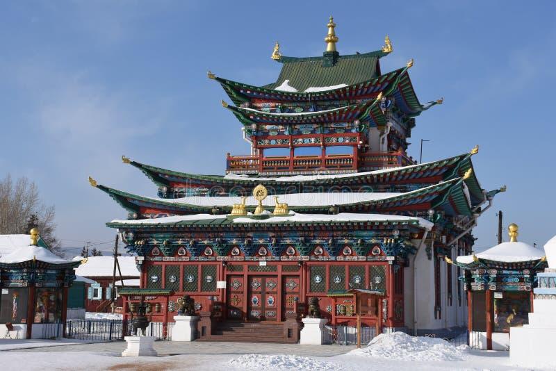 Tur till Baikal 2018 Vinter datsan ivolginsky royaltyfria foton