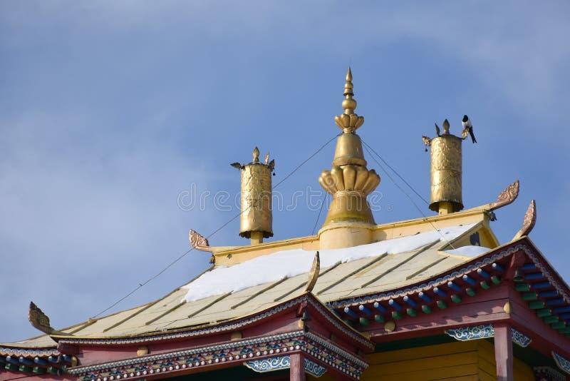 Tur till Baikal 2018 Vinter datsan ivolginsky royaltyfria bilder