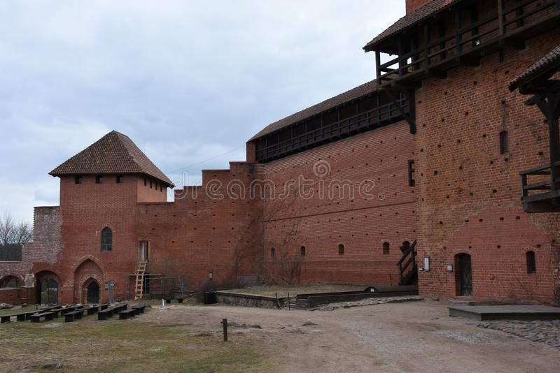 Turaida slott i Lettland, sikt från inre borggård arkivfoto