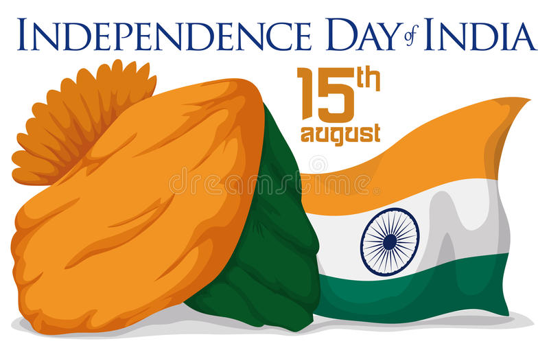 Turban i India flaga Świętować święto państwowe, Wektorowa ilustracja ilustracja wektor