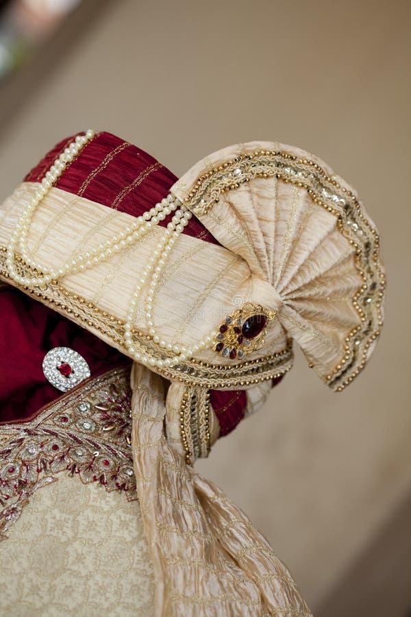 Turbante indio de la boda fotografía de archivo