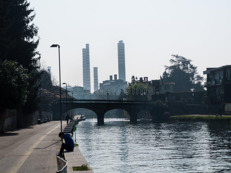 Turbigo-ITALY-03 12 2014, Turbigo thermoelectric plant chimneys. Turbigo-ITALY-03 12 2014, Turbigo thermoelectric power station on the Naviglio Grande in the royalty free stock photos