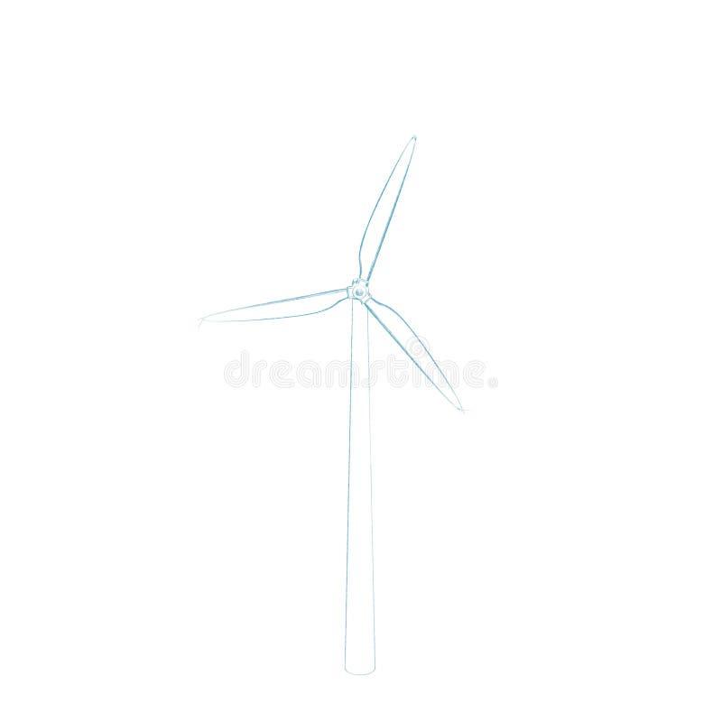 Turbin del viento Aislado en el fondo blanco Ejemplo del bosquejo ilustración del vector