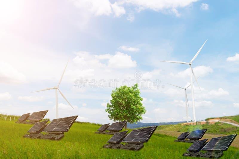 Turbin för vind för rengöring för elektrisk energi för ekologibegreppsträd arkivbild